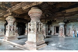 Interior of Indra Sabha temple at Ellora Caves, India