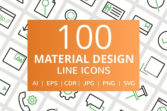 100 Material Design Line Icons