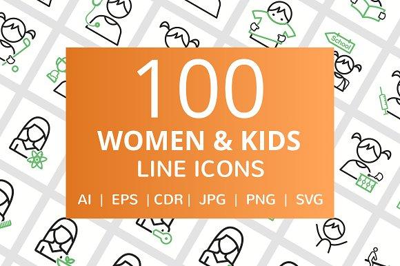 100 Women Kids Line Icons