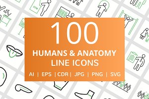 100 Humans & Anatomy Line Icons