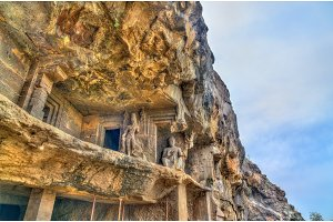 View of Buddhist monuments at Ellora Caves. UNESCO world heritage site in Maharashtra, India