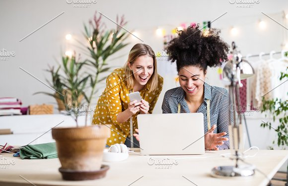 Young Creative Women With Laptop In Studio Startup Business
