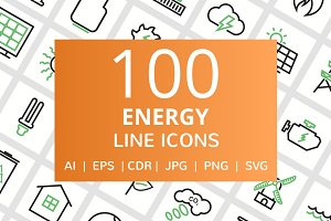 100 Energy Line Green & Black Icons