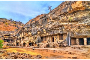 View of Buddhist monuments at Ellora Caves. A UNESCO world heritage site in Maharashtra, India
