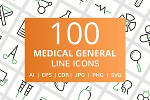 100 Medical General Line Icons