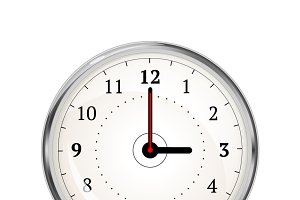 Realistic clock face showing 03-00