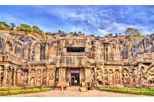 The Kailasa temple, the biggest temple at Ellora Caves. UNESCO world heritage site in Maharashtra, India