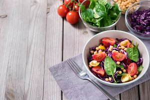 Healthy salad, copy space background
