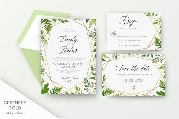 Wedding collection - Greenery gold
