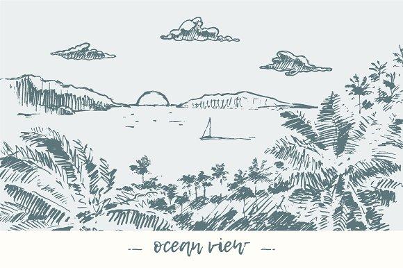 Beautiful ocean view in Illustrations