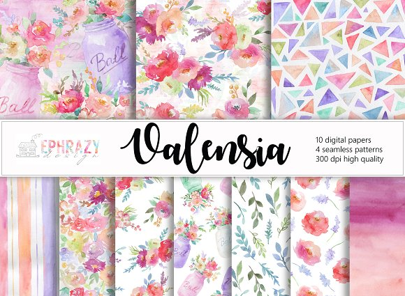 Floral Digital Paper Watercolor