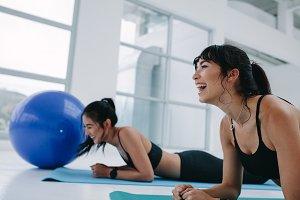 Women having fun during fitness