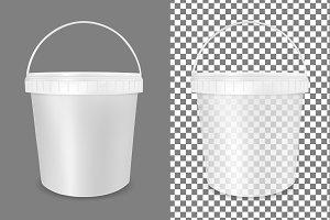 Transparent plastic bucket for food