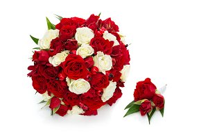 bridal bouquet with red and white roses