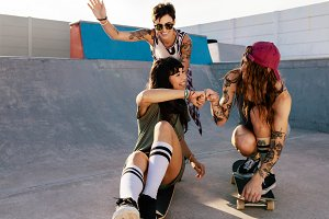 Female friends playing