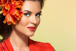 beautiful girl in orange dress