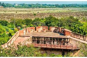 Defensive walls of Agra Fort. UNESCO heritage site in India