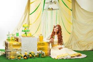 beautiful girl in yellow dress