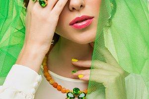 beautiful girl in green veil