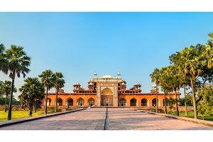 Tomb of Akbar the Great at Sikandra Fort in Agra, India