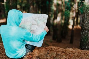 Rear view of traveler in blue hoodie holding the landmap while resting in pine forest