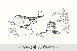 Landscape with bird and pagoda