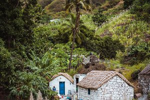 Stone houses in local style with straw covered roofs and blue windows between lush green vegetation and mountain landscape. Santo Antao Cape Verde