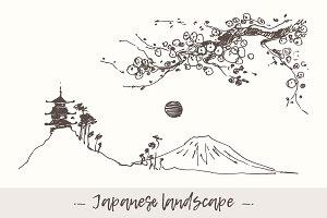 Mount Fuji with pagoda