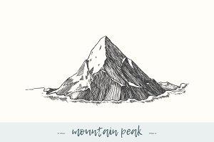 Mountain peak in the sky