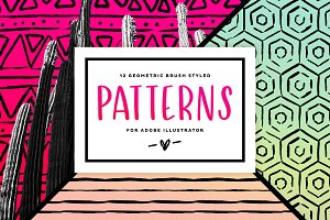 12 Geometric Brush Styled Patterns