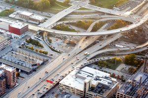 Aerial view of a interstate freeway