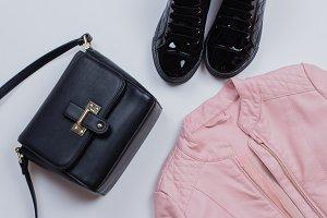 Woman Trendy Fashion Clothes. Gray j