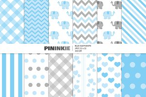 Cute Blue Elephant Patterns