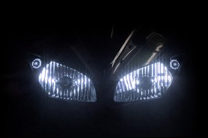 Modern motorcycle headlight with two bulbs
