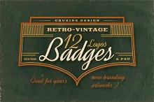 12 Retro/Vintage Badges