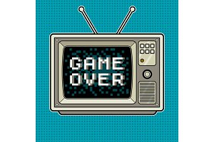 Game over on tv pop art vector illustration
