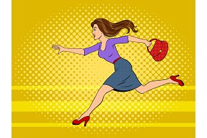 Woman run pop art vector illustration