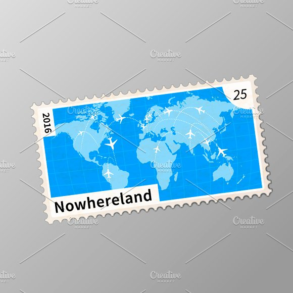Old Post Stamp With World Map
