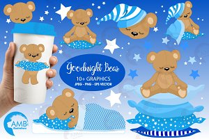 Teddy Bear Clipart in Blue, AMB-982