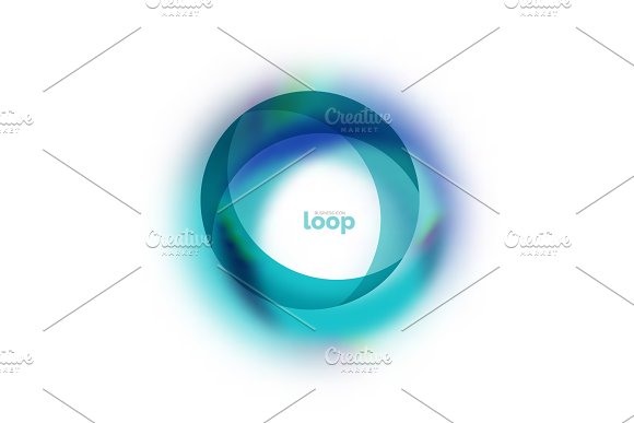 Loop Circle Business Icon Created With Glass Transparent Color Shapes