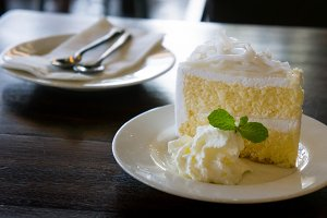 butter cream cake on cafe