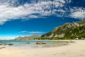 Panorama view to Jusnesvika bay and Rambergstranda beach, Flakstadoya island, Lofoten, Norway