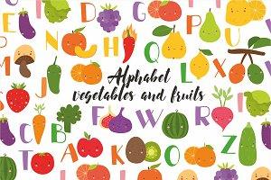 Alphabet vegetables and fruits kids