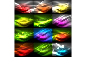 Collection of neon shiny light effects in darkness, abstract backgrounds