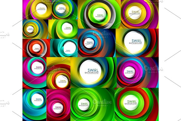 Set Of Swirl Abstract Backgrounds