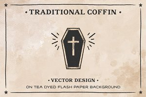 Coffin on Tea dyed Flash Paper AI
