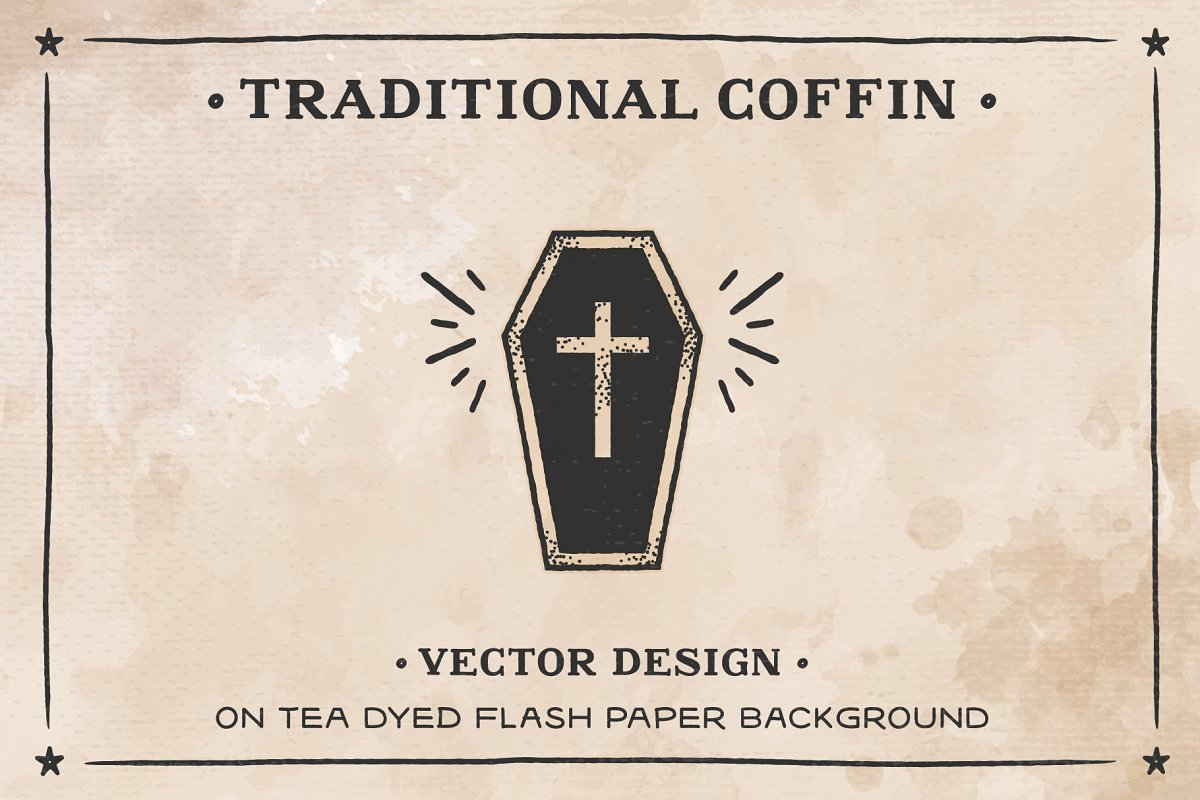 bfd648bf9353f Coffin on Tea dyed Flash Paper AI ~ Illustrations ~ Creative Market