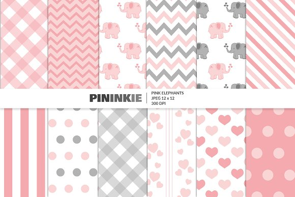 Cute Pink Elephant Patterns