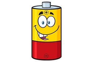 Happy Battery Cartoon Character