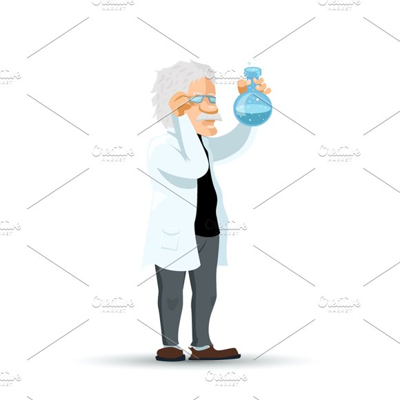 Cute Cartoon Scientist Character